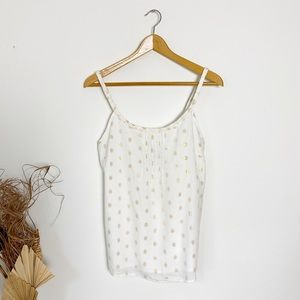NWT Gap| Cream Gold Metallic Polka Dot Tank Top| M